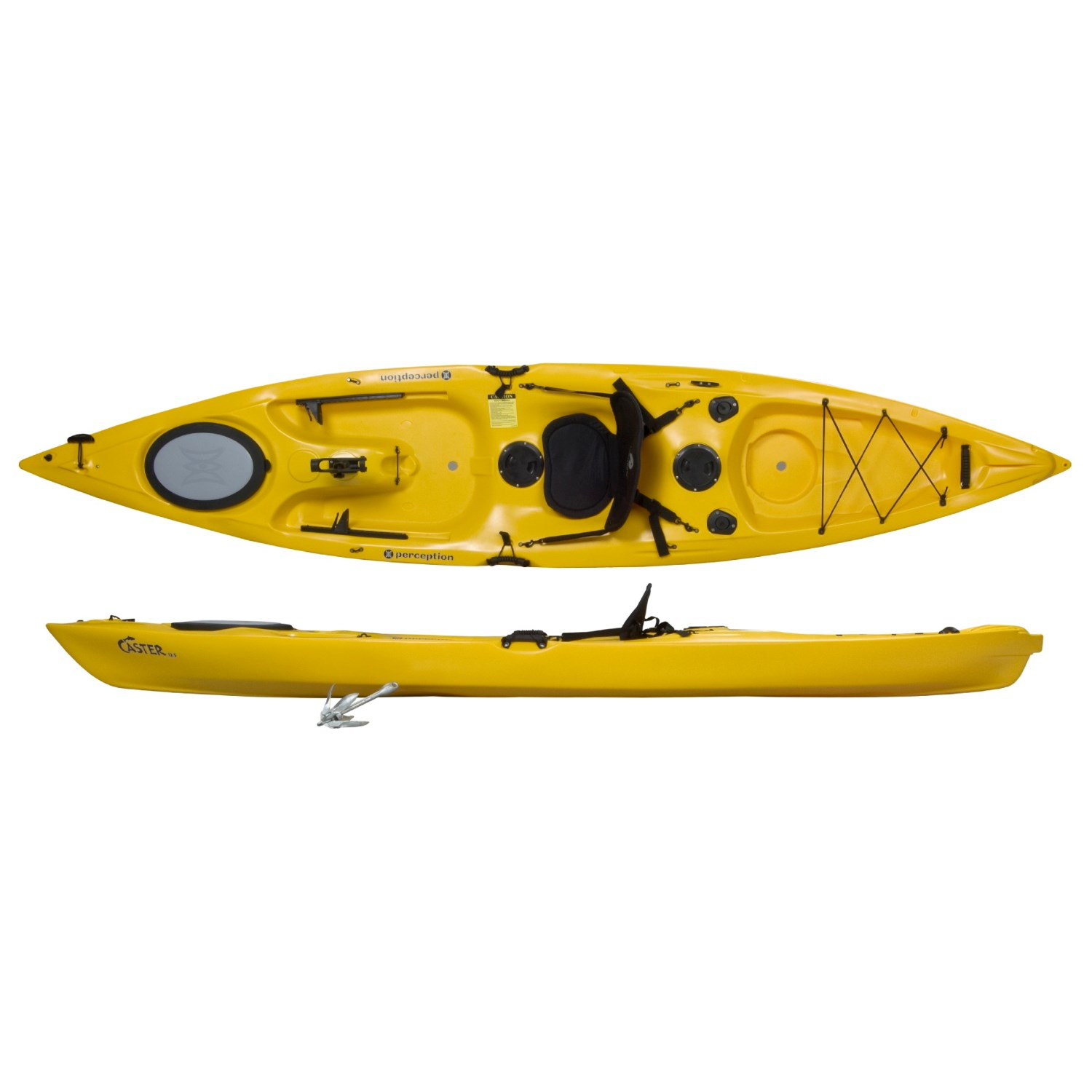 Perception caster 12 5 fishing kayak sit on top 1448e for Sit on vs sit in kayak for fishing
