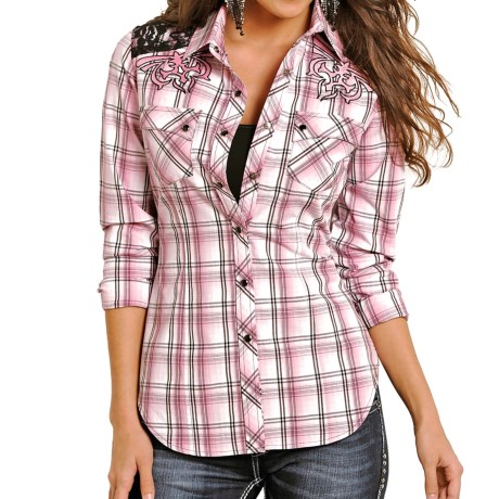Rock & Roll Cowgirl Lace Shoulder Western Shirt - Snap Front, Long Sleeve (For Women)