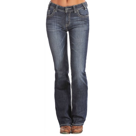 Rock & Roll Cowgirl Mid-Rise Bootcut Jeans - White and Turquoise Pocket (For Women)