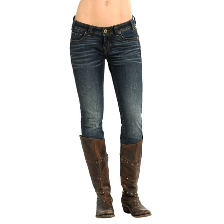 Rock & Roll Cowgirl Rival Skinny Jeans - Low Rise, Rhinestone Rivets  (For Women)