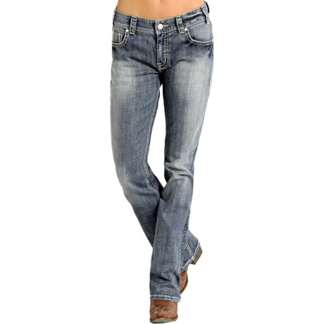 Rock & Roll Cowgirl Aztec Border Boyfriend Jeans - Bootcut (For Women)
