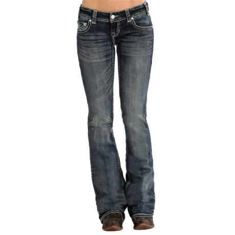 Rock & Roll Cowgirl Embroidered Jeans - Low Rise, Bootcut (For Women)