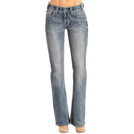 Rock & Roll Cowgirl Fancy Embroidered Pocket Jeans - Mid Rise, Bootcut (For Women)