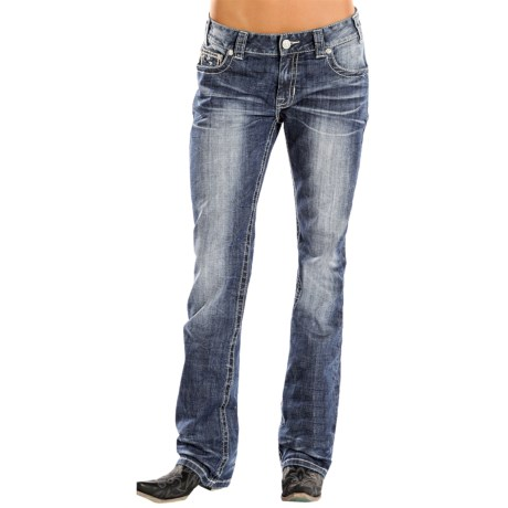 Rock & Roll Cowgirl Studded Boyfriend Bootcut Jeans (For Women)