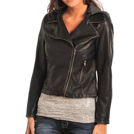 Rock & Roll Cowgirl Moto Pleather Jacket - Detachable Knit Hood (For Women)
