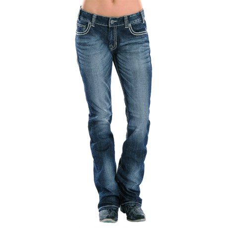 Rock & Roll Cowgirl Silver and Ivory Boyfriend Jeans - Bootcut (For Women)