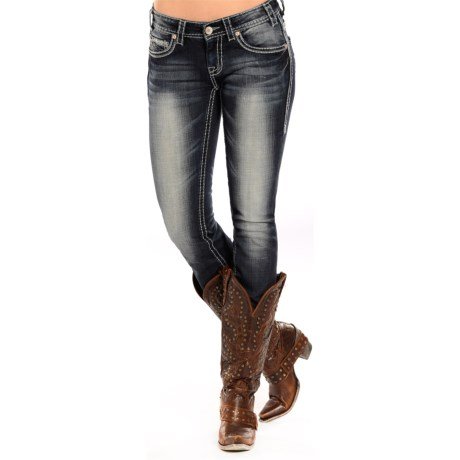 Rock & Roll Cowgirl Heavy Ivory Skinny Jeans - Low Rise (For Women)