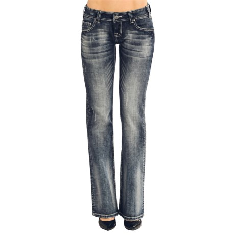 Rock & Roll Cowgirl Border Diamond Bootcut Jeans - Low Rise (For Women)