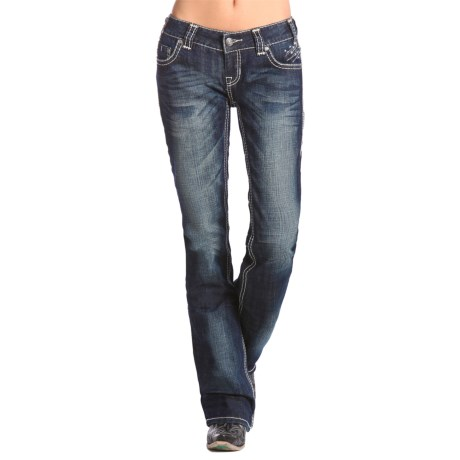Rock & Roll Cowgirl Multi V Rhinestone and Silver Bootcut Jeans - Low Rise (For Women)