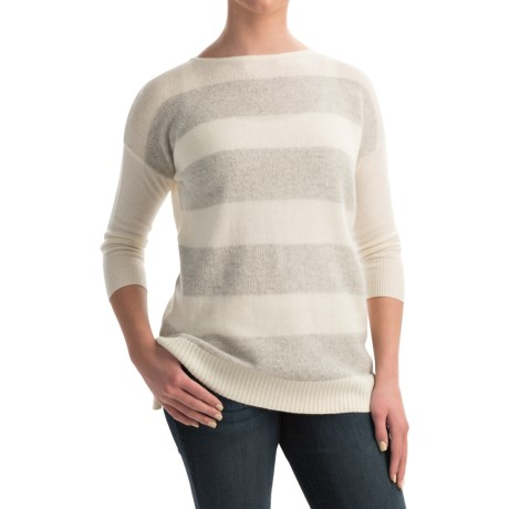 Forte Cashmere Mixy Striped Cashmere Sweater - Ballet Neck, 3/4 Sleeve (For Women)
