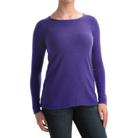Forte Cashmere Textured Front Swing Top Cashmere Sweater (For Women)