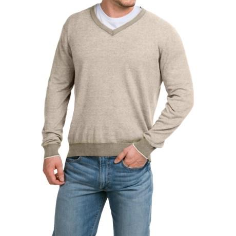 Robert Talbott Feeder Striped Sweater - V-Neck (For Men)