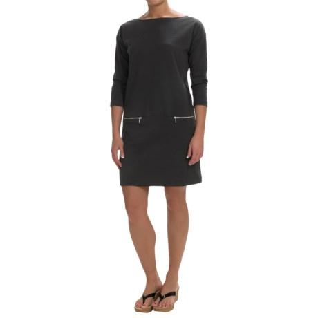 Joan Vass Cotton Boat Neck Dress - 3/4 Sleeve (For Women)