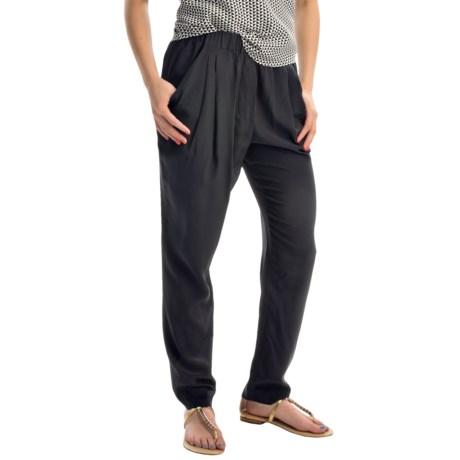 Joan Vass Drape-Pocket Silk Pants (For Women)