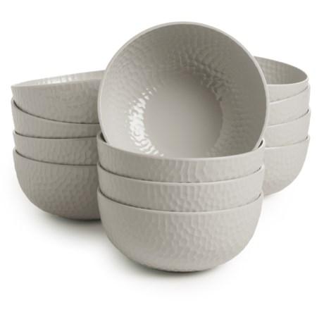 """Knack3 Cape Cod Collection Hammered Melamine 6"""" Bowls - Set of 12"""