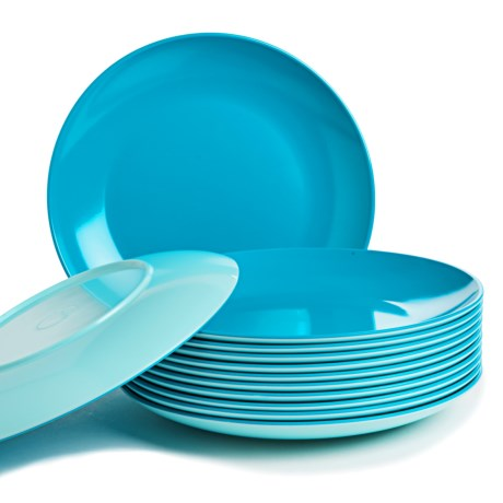"""Knack3 Bohemian Brights Dinner Plates - 12-Piece 10"""", Two-Tone"""
