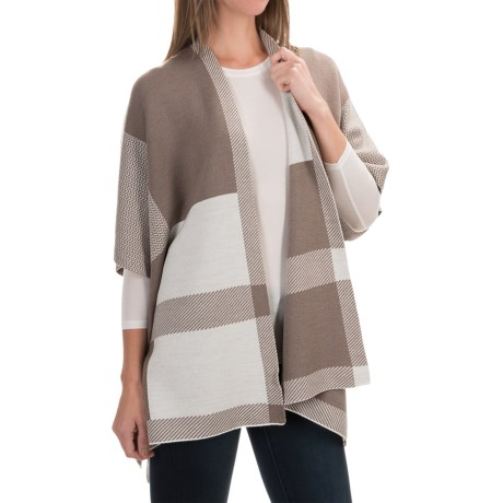 Adrienne Vittadini Color-Block Wool Poncho (For Women)