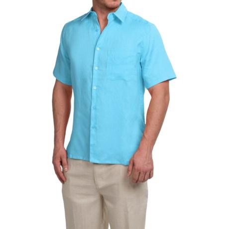 Natural Blue Linen Shirt - Short Sleeve (For Men)