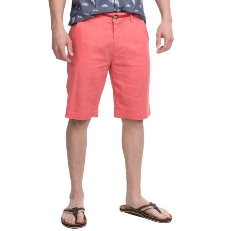 Natural Blue Linen Dress Shorts - Flat Front (For Men)