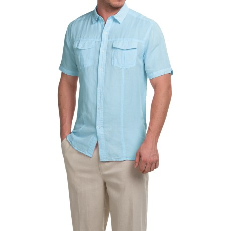 Natural Blue Yarn-Dyed Shirt - Short Sleeve (For Men)