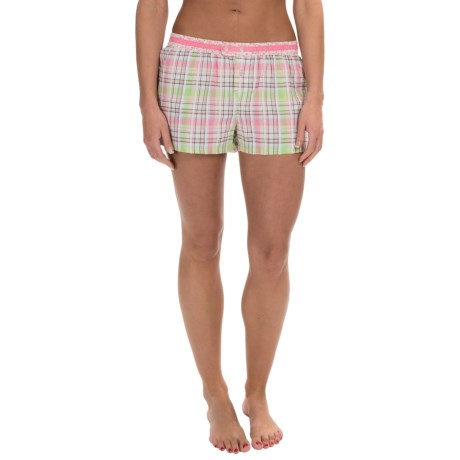 Jane and Bleecker Contrast-Print Woven Lounge Shorts - Button Front (For Women)
