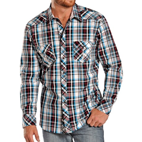 Rock & Roll Cowboy Poplin Plaid Western Shirt - Snap Front, Long Sleeve (For Men)