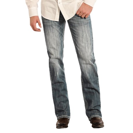 Rock & Roll Cowboy Pistol Abstract Curved Embroidery Jeans - Straight Leg (For Men)