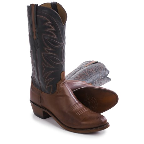 "Lucchese Round Toe Cowboy Boots - 13"", Leather (For Men)"