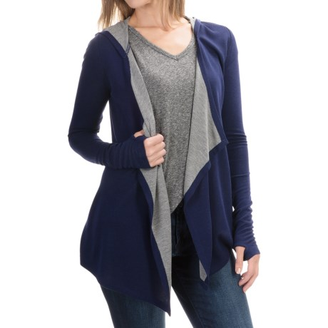 Cable & Gauge Hooded Cardigan Wrap - Long Sleeve (For Women)