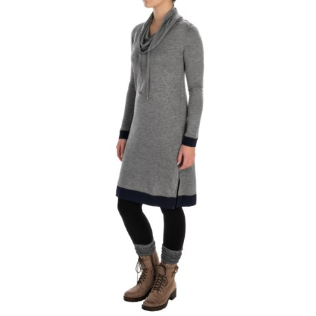 Cable & Gauge Drawstring Cowl Neck Dress - Long Sleeve (For Women)