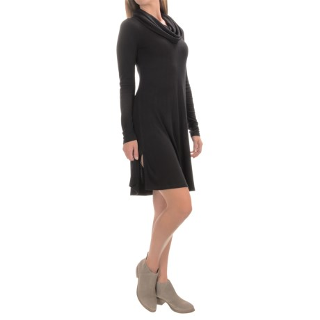 Cable & Gauge Ribbed Cowl Neck Dress - Long Sleeve (For Women)