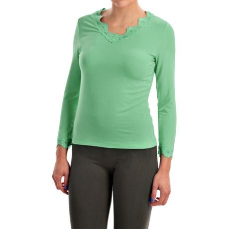 Specially made Stretch Modal Shirt - V-Neck, Long Sleeve (For Women)