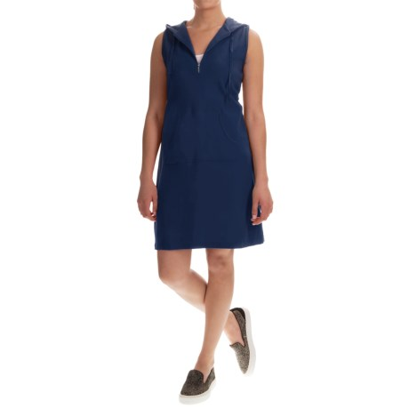 Hooded Cotton Dress - Zip Neck, Sleeveless (For Women)