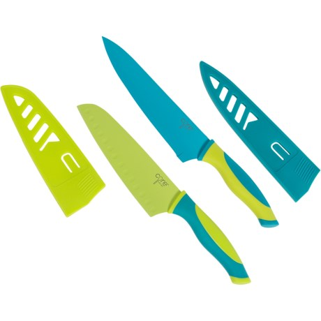 Core Bamboo Chef and Santoku Knife Set with Sheaths - 2-Piece