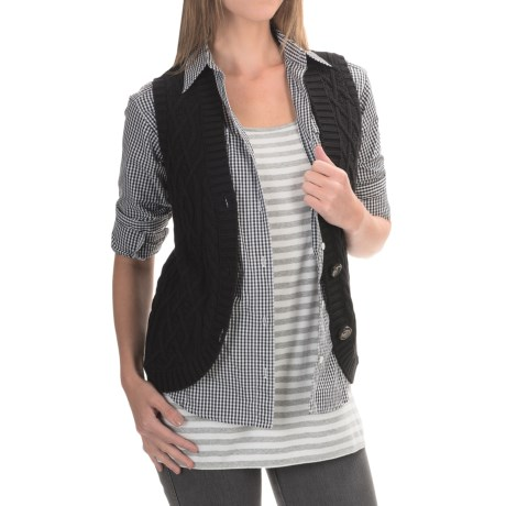 Country Cotton Tilson Cable-Knit Vest - Button Front (For Women)