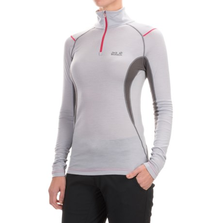 Jack Wolfskin Merino Wool Base Layer Top - Zip Neck, Long Sleeve (For Women)