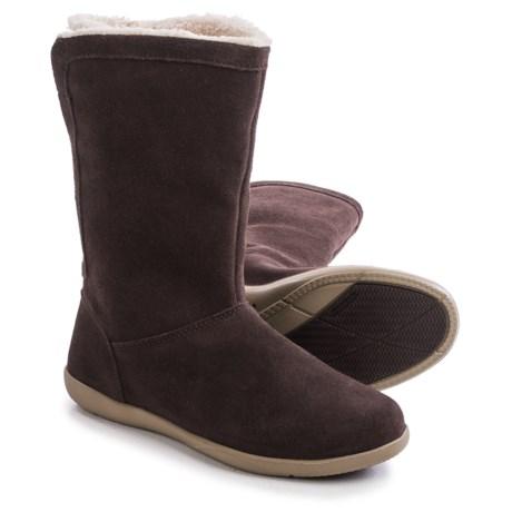 Crocs Adela Foldover Fuzz Boots - Suede (For Women)