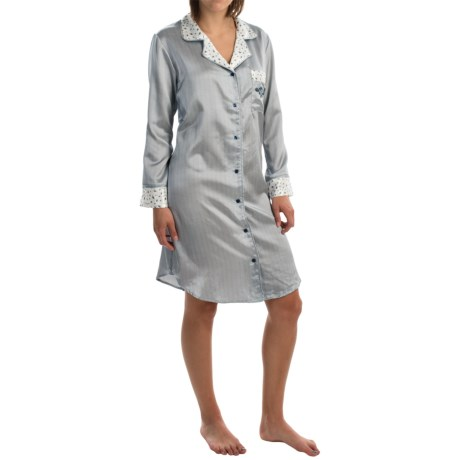KayAnna Button-Up Satin Nightshirt - Long Sleeve (For Women)