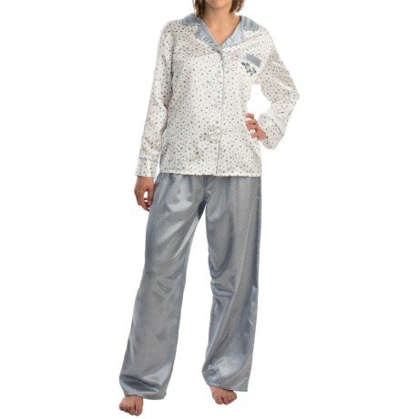 KayAnna Brushed Back Satin Pajamas - Long Sleeve (For Women)