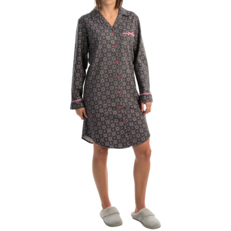 KayAnna Foulard Flannel Button-Up Nightshirt - Long Sleeve (For Women)