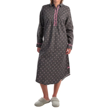KayAnna Foulard Flannel Nightgown - Long Sleeve (For Women)