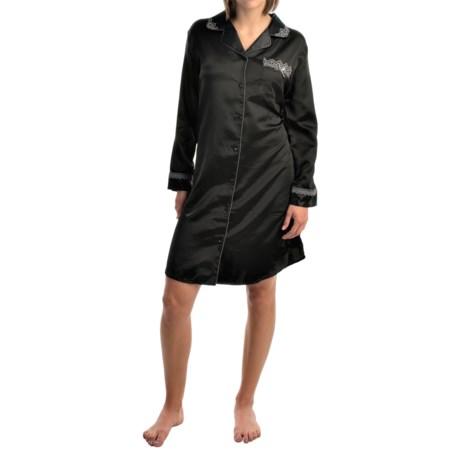 KayAnna Lace Trim Nightshirt - Brushed-Back Satin, Long Sleeve (For Women)