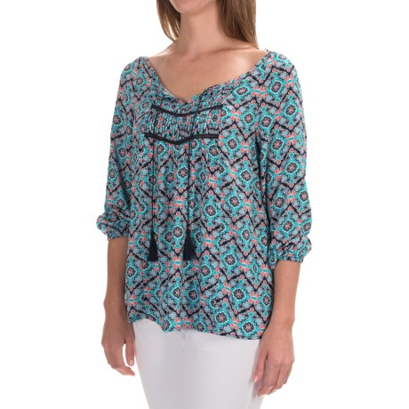 Grayson Printed Peasant Top - 3/4 Sleeve (For Women)