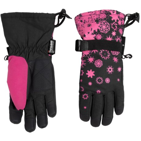 Grand Sierra Snowflake Printed Thinsulate® Snowboard Gloves - Waterproof, Insulated (For Little Girls)