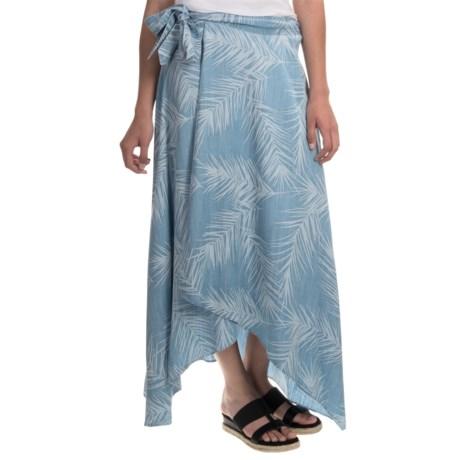 Foxcroft Palm Print Faux Wrap Skirt - TENCEL® (For Women)