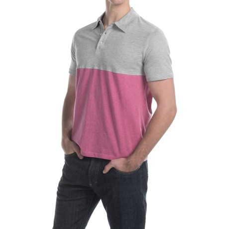 C89men Cotton Color-Block Polo Shirt - Short Sleeve (For Men)