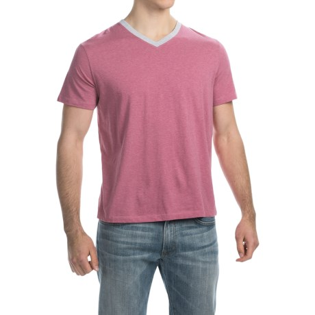C89men Contrast Trim V-Neck T-Shirt - Short Sleeve (For Men)