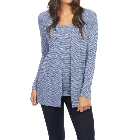 FDJ French Dressing Pinstripe Cardigan Sweater - Open Front (For Women)