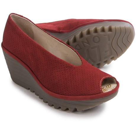 Fly London Yury Perf Shoes - Nubuck, Wedge Heel (For Women)