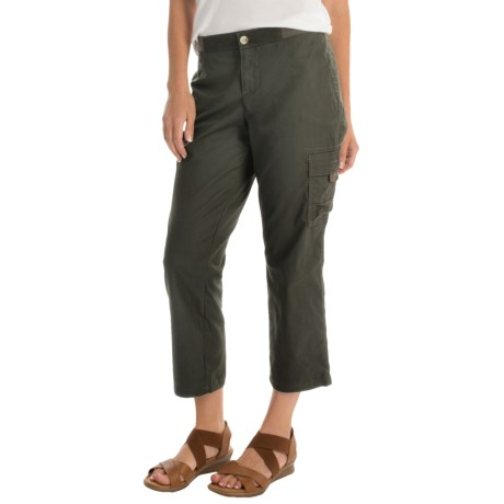 Cargo Capris with Knit Waistband (For Women)